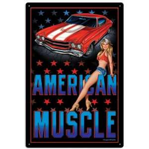 American Muscle Hot Rod Pinup Vintage Metal Sign