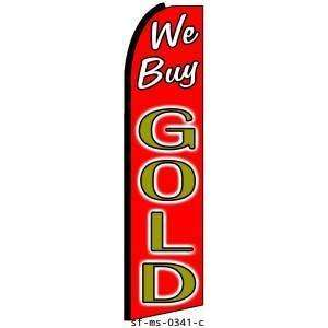 We Buy Gold Red Extra Wide Swooper Feather Business Flag
