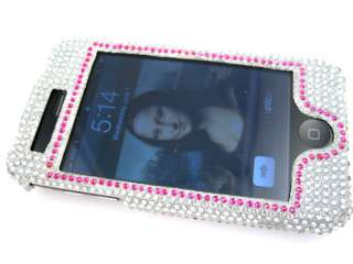 PEACE BLING CRYSTAL RHINESTONE CASE APPLE IPHONE 3G 3GS PINK WHITE