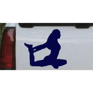 Yoga Pose Silhouettes Car Window Wall Laptop Decal Sticker    Navy 6in