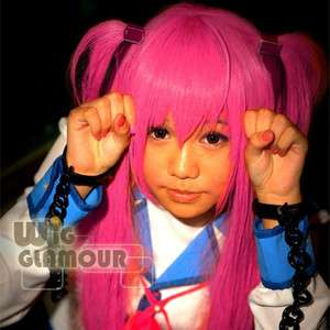 Angel Beats Yui Magenta Anime Cosplay Long Straight Hair Wig