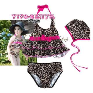 Girls Kids 5/6 Leopard Halter Tankini Bikini Swimming Costume Swimsuit
