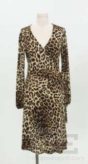 Roberto Cavalli Brown Leopard Print Jersey Wrap Dress