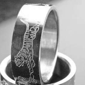 B1570 Fashion Tiger Design Men Stainless Steel Ring #10