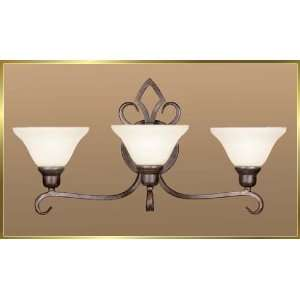 Wrought Iron Wall Sconce, JB 7347, 3 lights, Antique Oak, 26 wide X