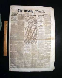 WEST VIRGINIA Civil War Map Moorefield 1864 Newspaper *