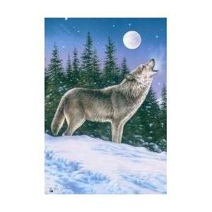Howling Wolf Full Moon Snowy Night Mini Flag Patio, Lawn