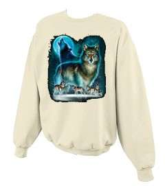 Wolf Moon Silhouette Wolves Crewneck Sweatshirt S  5x