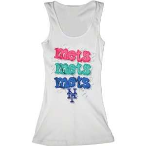 New York Mets White Girls Ribbed Tank Top