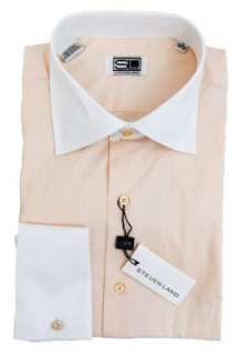 Mens Peach Dress Shirt by Steven Land, White contrast