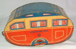 1930's ANTIQUE LITHO TIN TOY MARX LONESOME PINE TRAVEL HOUSE TRAILER