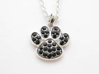 Black Paw Print Crystal Fashion Necklace Jewelry