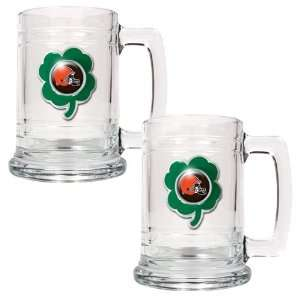 NFL Cleveland Browns St. Patricks Day 2pc Glass Tankard