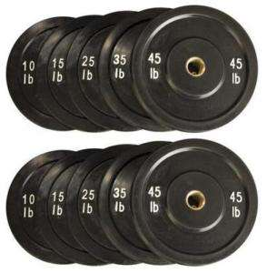 BLACK Solid Rubber Bumper Plate Set Total 260LB 5 Pairs