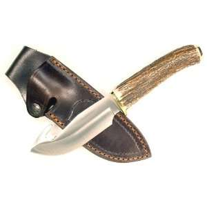 RUKO 4 1/2 Inch Blade Gut Hook Skinning Knife with Genuine Deer Horn