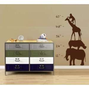 Safari Growth Chart Sticker Wall Decal Nursery Baby Boy Girl Teen Zoo