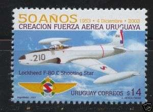 URUGUAY Sc#2050 MNH STAMP FAU Military Air force Plane lockheed fc