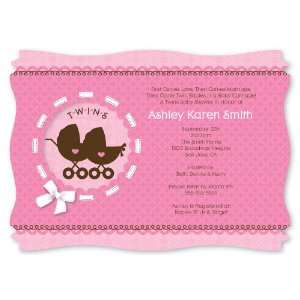 Twin Girl Baby Carriages   Personalized Baby Shower Invitations With