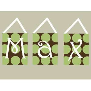 GREEN POLKA DOTS ON CHOCOLATE CANVAS WALL LETTERS Baby