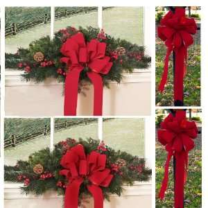 Set of 2 Christmas Window Swags with 2 Red Velvet Bows