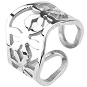 Size 8  Spikes Womens Stainless Steel Wavy Flower Cast Ring Jewelry