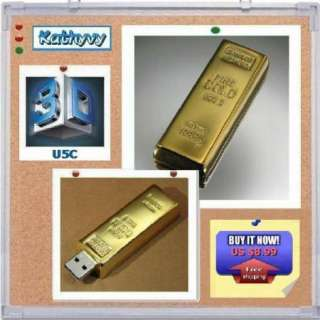 New 4GB Gold Bar USB 2.0 Flash Memory Stick Drive Pen