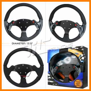 PILOT UNIVERSAL CARBON FIBER STYLE LEATHER RACING STEERING WHEEL