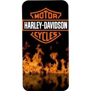 Black Hard Plastic Case Custom Designed Flaming Harley Davidson Emblem