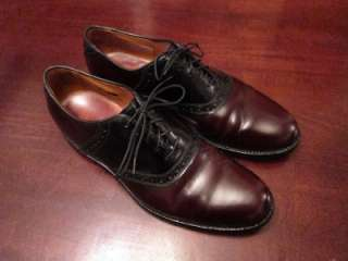 Allen Edmonds Shelton Mens Black & Burgundy Leather Oxford Dress Shoes
