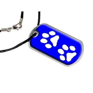 Paw Prints Blue   Military Dog Tag Black Satin Cord