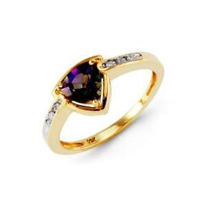 10k Yellow Gold Round Diamond Mystic Fire Topaz Ring Jewelry