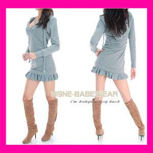 NewBlack/Grey Hoodie Womens Mini Sweater Dress S M L XL