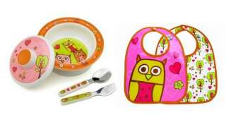 Sugarbooger Bowl Silverware 2 Baby Bibs Set Hoot Owl