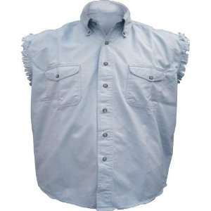 Mens Light Blue Cotton Twill Sleeveless Shirt Automotive