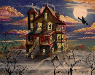 Art HALLOWEEN Haunted House Hill Top Fog Witches Skeletons Byrum PRINT