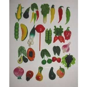 Set Hand Made Decorative Fruit and Vegetable Fridge Magnets 1.5 4.0h