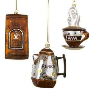 Kurt Adler 3.5 4 Glass Coffee Hanging Ornaments, 3 Piece