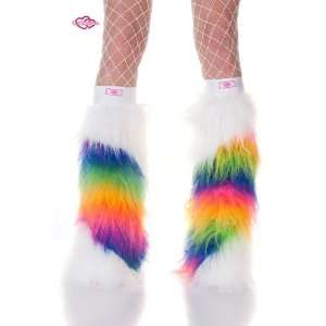 White & Rainbow Slash Striped Faux Fur Fuzzy Furry Legwarmers Boot