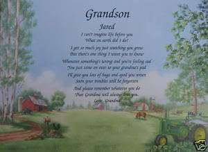 GRANDSON PERSONALIZED POEM BIRTHDAY OR CHRISTMAS GIFT