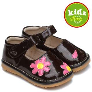 Girls Infant Toddler Leather Squeaky Shoes Patent Brown