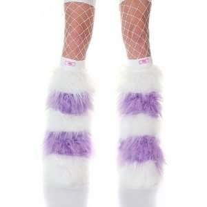 Lilac Purple & White Striped Faux Fur Fuzzy Furry Legwarmers Boot