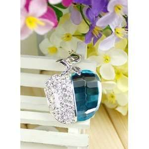 Crystal Diamond Apple Jewelry USB Flash Drive with Necklace8GB(Blue)