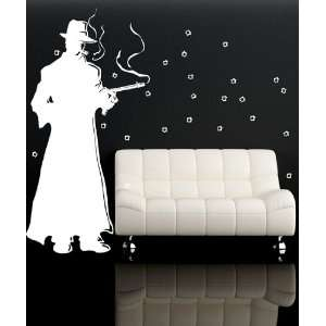 Wall Decal Sticker Mobster Gun Shootout GFoster124