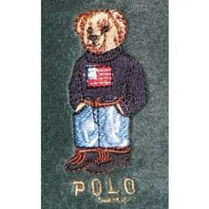 Ralph Lauren Teddy Bear Fleece Throw Blanket Green