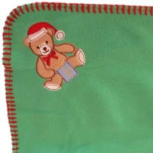 Soft Green Fleece Teddy Bear Baby Blanket with Stitched
