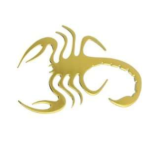 Auto Car Gold Tone Chrome Plated Scorpion Badge Sticker