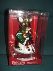 NEW Kurt Adler Glass Rudolph Reindeer Ornament NIB