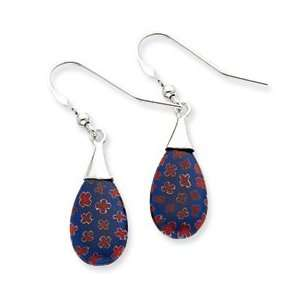 Sterling Silver Blue & Red Glass Polished Teardrop Dangle