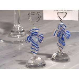 Wedding Favors Murano art Deco collection cross place card holder (Set
