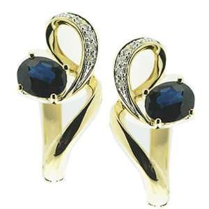 14K Yellow Gold Blue Sapphire & Diamond Earrings Jewelry